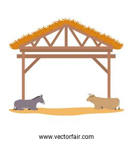 wooden stable manger with ox and mule
