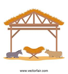 wooden stable manger with cradle and animals