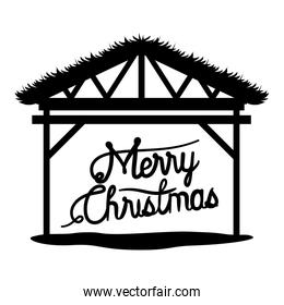 wooden stable manger with merry christmas text