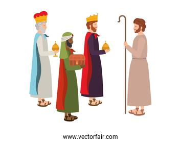 wise kings with saint joseph manger characters