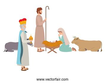 holy family with wise man and animals
