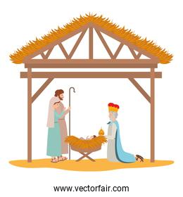 holy family with wise man in stable