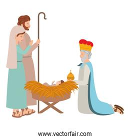 holy family with wise man manger characters