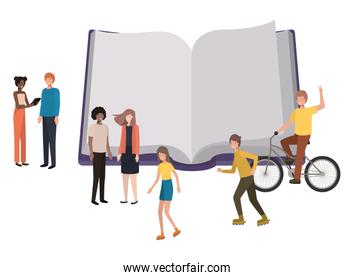 open book with group of people smiling avatar character