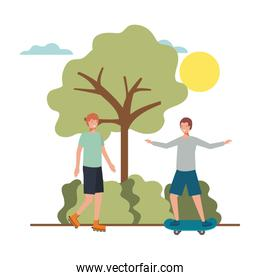 Men practicing sports in landscapes avatar character