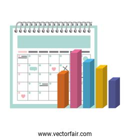 calendar reminder with statistics charts isolated icon