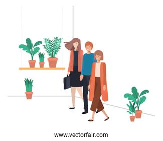 group of people with house plant avatar character