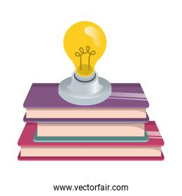 beautifull light bulb with books isolated icon