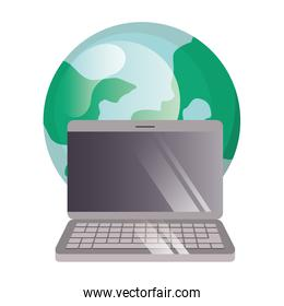 planet earth with laptop computer icon