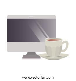 computer desktop with cup of coffee isolated icon