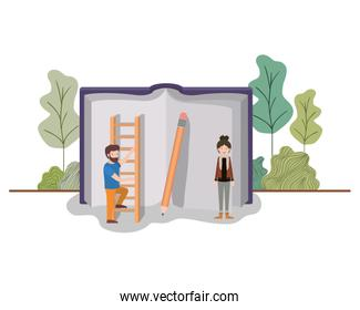couple with text book and stair in landscape