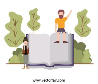 couple with text book in landscape avatar character