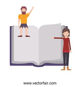 couple with text book avatar character