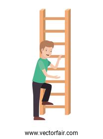 man with wooden stair avatar character