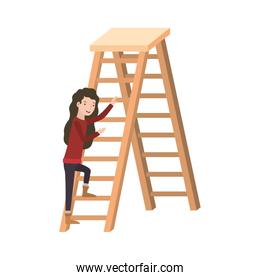 woman with wooden stair avatar character
