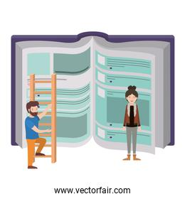 couple with text book and stair avatar character