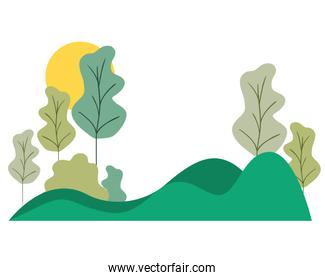 landscape with mountains isolated icon