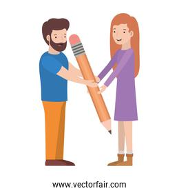 couple with pencil avatar character