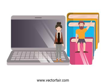 couple with computer desktop and books