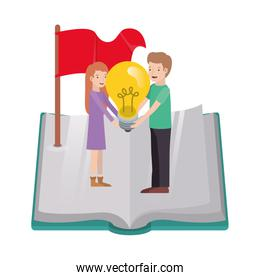couple with light bulb and book avatar character