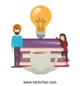 couple with light bulb with books avatar character