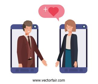 couple of business in smartphone with speech bubble