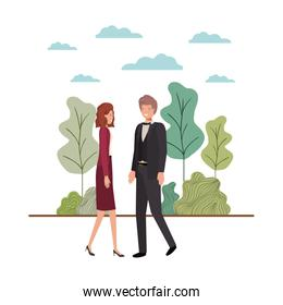 young couple of business with landscape avatar character