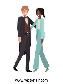 young couple of business avatar character