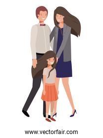 parents couple with daugether avatar character