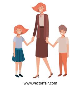 mother and children avatar character