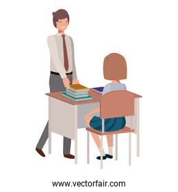 teacher in the classroom with student avatar character