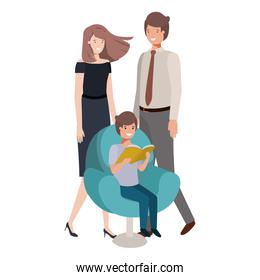 parents couple with son sitting in chair avatar character