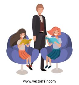 father and daughters sitting in chair avatar character|