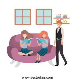 father and daughters sitting in couch avatar character