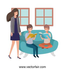 mother and sons sitting in couch avatar character