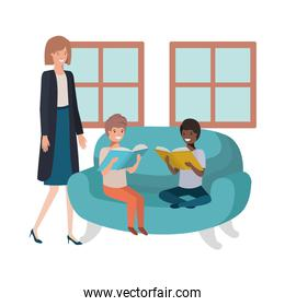mother and kids sitting in couch avatar character