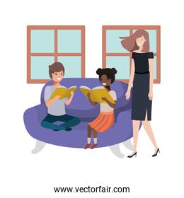 mother and children sitting in couch avatar character