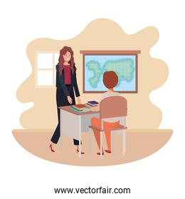 female teacher in the classroom with student
