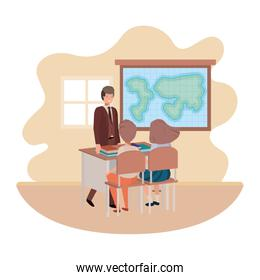 teacher in the classroom with students avatar character