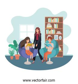 mother and children sitting in chair avatar character