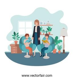 mother and sons sitting in chair avatar character