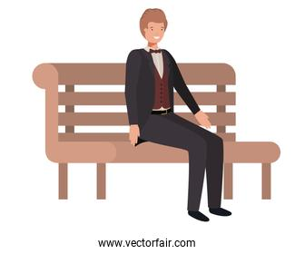 businessman sitting in park chair avatar character