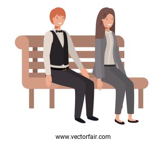 couple of business sitting in park chair avatar character