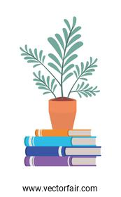 books wit house plant pot isolated icon