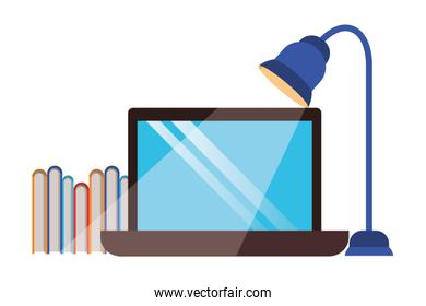 laptop computer with library books and lamp