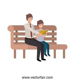 father and son sitting in park chair avatar character