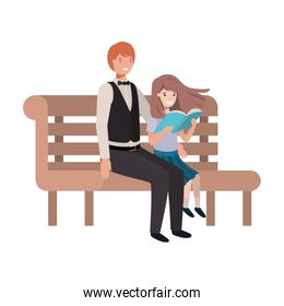 father and daughter sitting in park chair avatar character