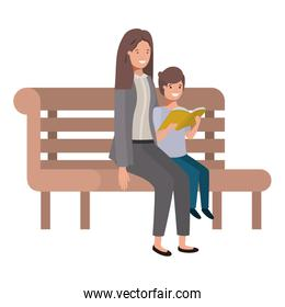 mother and son sitting in park chair avatar character