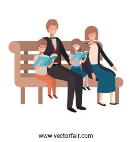 parents couple with children sitting in park chair