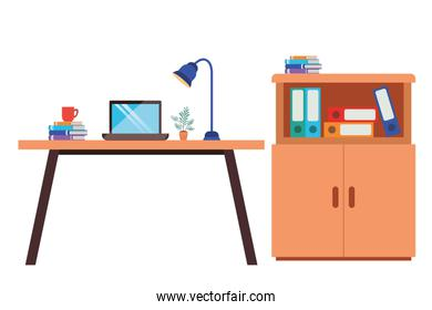 office desk with laptop isolated icon